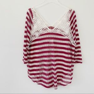 Free People Lace Striped Top NWT